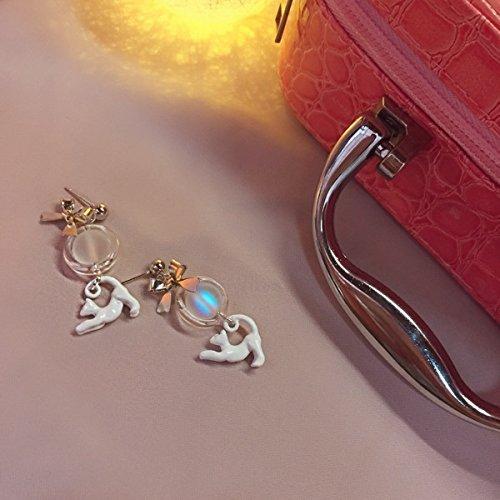 usongs Cats want travel original designs retro fun cat ear clip earrings elegant moonstone color Girl Cat Moonstone Earrings