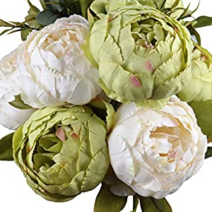 Leagel Fake Flowers Vintage Artificial Peony Silk Flowers Bouquet Wedding Home Decoration, Pack of 1 (Green) 25