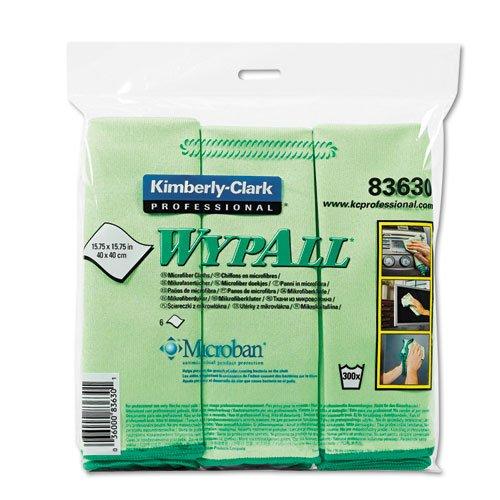 ** WYPALL Cloths w/Microban, Microfiber 15 3/4 x 15 3/4, Green, 6/Pack **