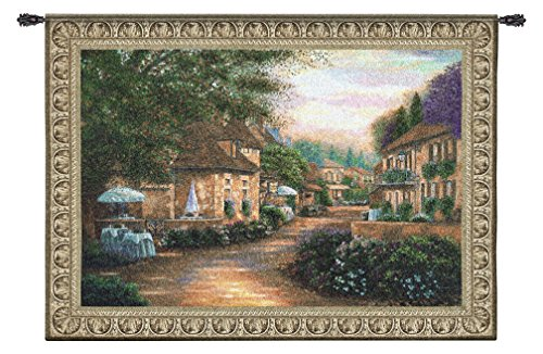 (Plenitude De Charme by Betsy Brown - Woven Tapestry Wall Art Hanging - Rolling Hillside Cobblestone Villa Street European Village - 100% Cotton - USA 53X75)