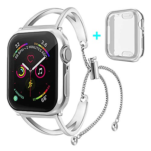 KoudHug Bands with Case Compatible Apple Watch Band 38mm/40mm/42mm/44mm Series 4/3/2/1, Replacement Strap with Screen Protector Cover for iWatch Women Straps (Silver, 42mm Band with Case)