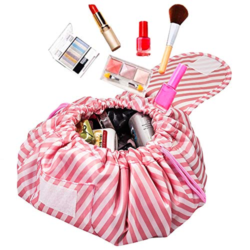 Adigow Lazy Makeup Drawstring Bag Large Travel Cosmetic Pouch Organizer magic Quick Pack Storage Bags For Women,Pink White