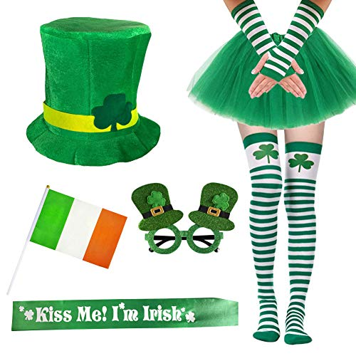 Garma 7 Pack St. Patrick's Day Costume Set Women Irish Day Saint Patrick's Day Celebration Outfit Attire Accessories -