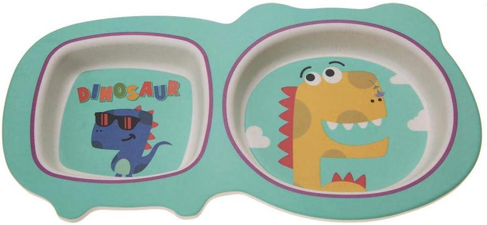 Dinosaure 5Pcs//Set de Vaisselle Enfants Plaque Alimentaire Bol Cuill/ère Fourchette Bande Dessin/ée Non Toxique Bambou Fiber enfants badine des cuvettes de plats de vaisselle enfants en bas /âge