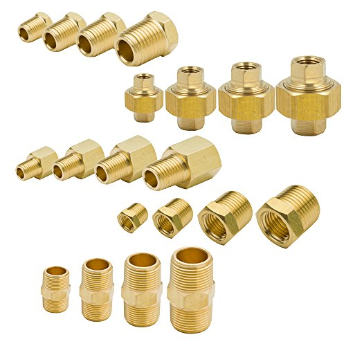 "Price comparison product image Legines Brass Pipe Fitting Assortment Kits,  Equal Hex Nipple + Union + Hex Head Plug + Reducing Adapter + Hex Bushing,  1 / 8"",  1 / 4"",  3 / 8"",  1 / 2"" NPT Male and Female,  88 Pcs"