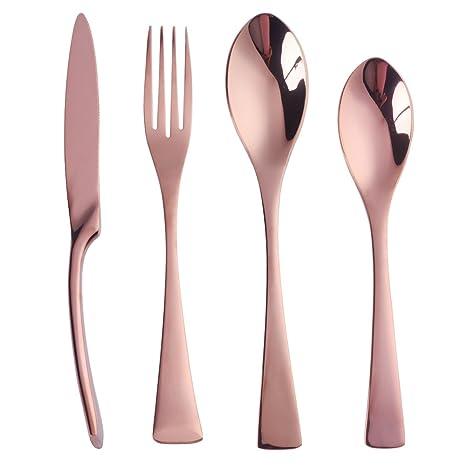 Buyer Star 4 Piezas Oro rosa Juego de cubiertos acero inoxidable Cubiertos Utensilios de acero Vajilla