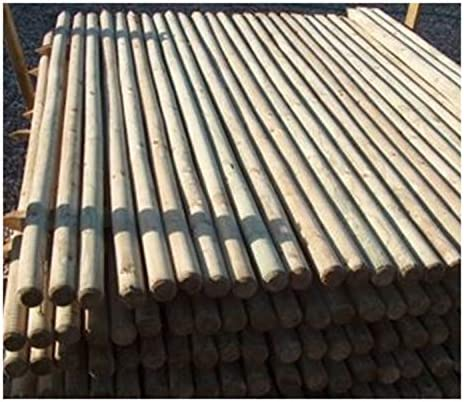 5.5ft F/&G Supplies 10 X 1.65m tall x 40mm diam round wooden treated fence posts or stakes with a pointed end