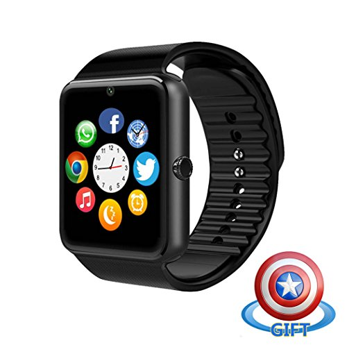 Fam-health Sweatproof Smart Watch Phone for iPhone 5s/6/6s/7/7s and 4.2 Android or Above SmartPhones (Black-1)