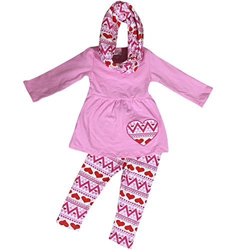 Little Girl Kids Long Sleeve Hearts Wave Print Pants Set with Scarf Pink 5 L 501245