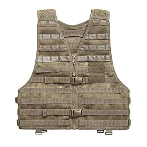 5.11 LBE Tactical Vest with MOLLE for Paintball Airsoft Hiking Hunting, Style 58631, Sandstone, Regular