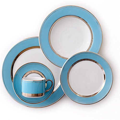 CRU by Darbie Angell Lauderdale 5 Piece Place Setting Dinnerware Set, Sea Blue/Platinum/White  - ()