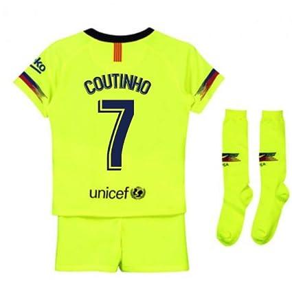 00072cee70a Amazon.com   UKSoccershop 2018-2019 Barcelona Away Nike Little Boys Mini Kit  (Philippe Coutinho 7)   Sports   Outdoors
