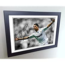 Signed 12x8 Black Soccer Cristiano Ronaldo Real Madrid Autographed Photo Photograph Football Picture Frame Gift A4