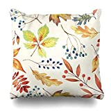 ONELZ Autumn Autumn ure Leaves Branches Berries Square Decorative Throw PillowCase Two Sides Printed, Fashion Style Zippered Cushion Pillow Cover (20 x 20 inch)