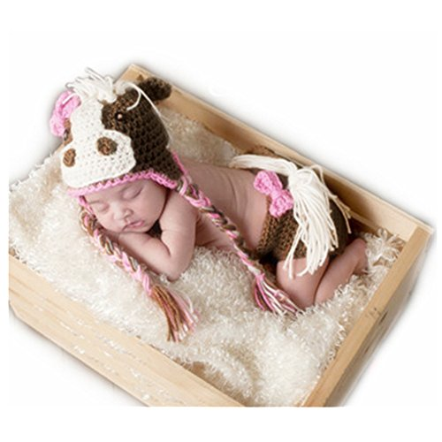Newborn Horse Costume (Fashion Unisex Newborn Girl Boy Baby Knitted Photography Props Horse Hat Pants)