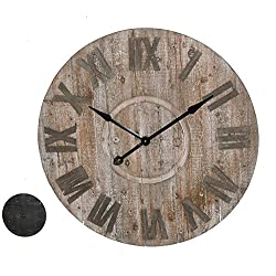 Parisloft 34.1 Large Oversized Round Roman Numeral Rustic Wood Quartz Wall Clock Home Room Decoration