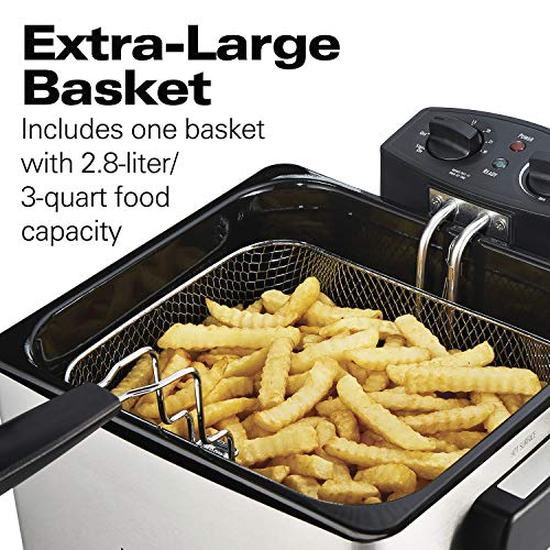 Hamilton Beach (35035) Deep Fryer, With Basket, 4.5 Liter Oil Capacity, Electric, Professional Grade
