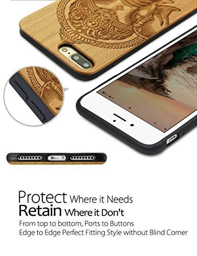 iPhone 7 Plus Coque, YFWOOD Housse de Protection en Bois Naturel pour iPhone 7 Plus