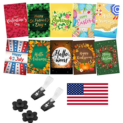 Cheap Mogarden Seasonal Garden Flags Set – 10 Pack, Free 2 Stopper & 2 Wind Clip & USA Flag Car Sticker, Artistically Designed Yard Flags, Double Sided, 12″ x 18″ Size, Thick Weatherproof Polyester Fabric