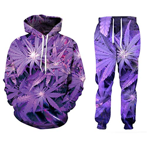 Men/Women's Purple Weed 3D Print Tracksuits Crewneck Sweatshirt