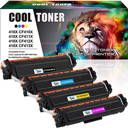 Cool Toner Compatible Toner Cartridge Replacement for HP 410X CF410X CF411X CF412X CF413X 410A CF410A M477FDW for HP Laserjet Pro MFP M477fdw M477fnw M477fdn Pro M452dn M452dw M452nw Toner Ink Printer