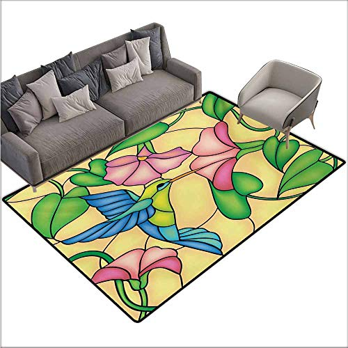 - Door Rug for Internal Anti-Slip Rug Hummingbird Stained Glass Style Bird and Hibiscus Tropical Flora and Fauna Illustration Easy to Clean Carpet W78 xL106 Multicolor