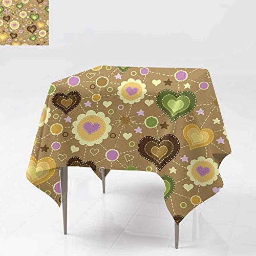 Fbdace Washable Square Tablecloth,Seamless Pattern with Applique of Hearts Party Decorations Table Cover Cloth 70x70 Inch