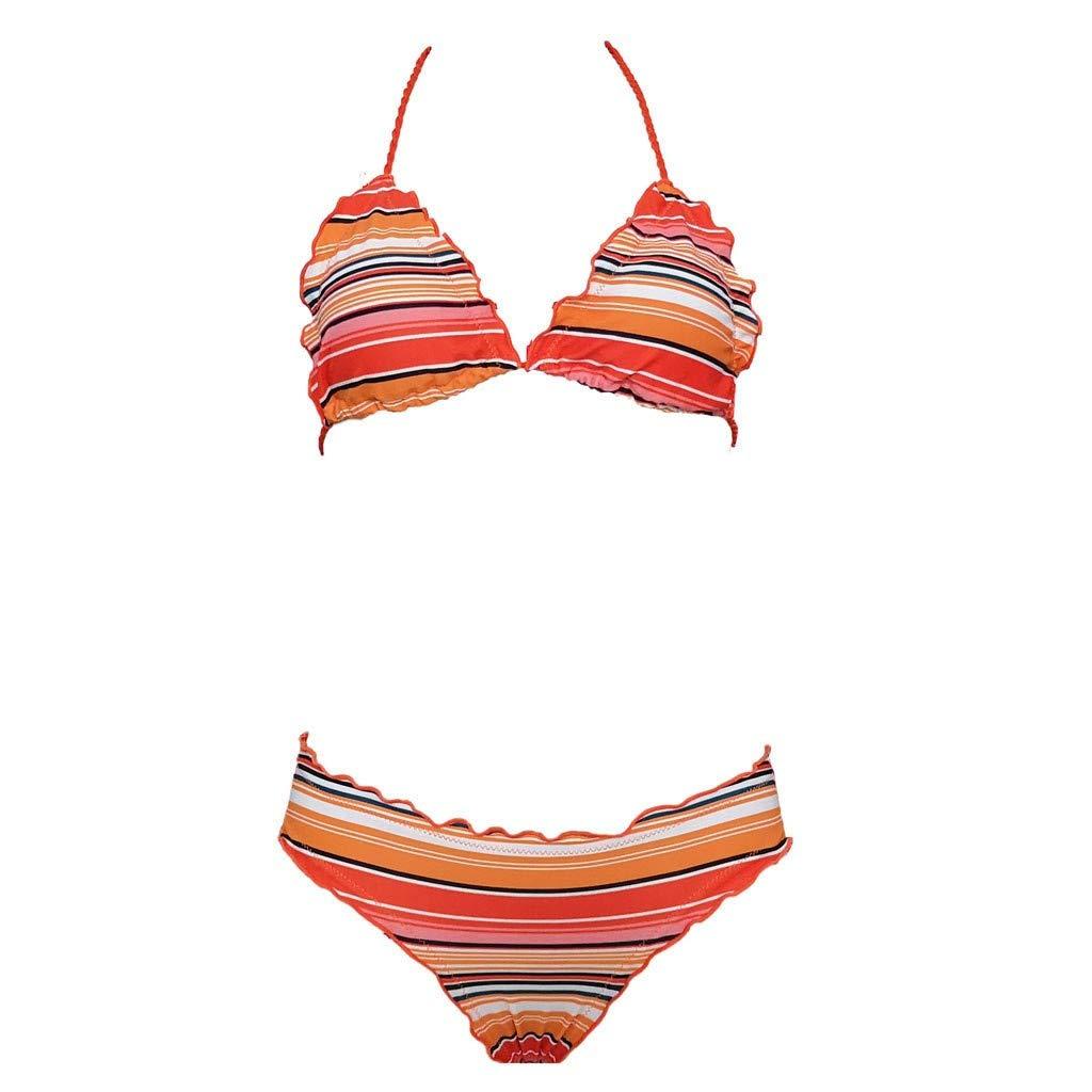 8ab91cc98d54 AKIMPE - Conjunto de Bikini para Mujer, con Tirantes, a Rayas, para ...