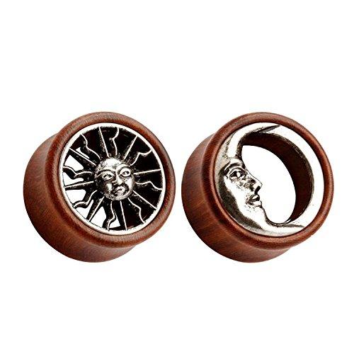 TOPBRIGHT Pair Sun & Moon Organic Wood Ear Saddle Tunnels Flesh Earring Gauges Piercing Expander Plugs