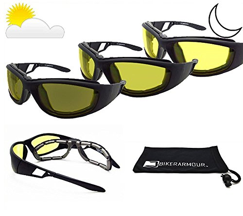 Motorcycle Riding Transitional Glasses Foam Padded. Photochromic Lenses, Removable Foam Cushion. - Motorcycle Transitional Glasses