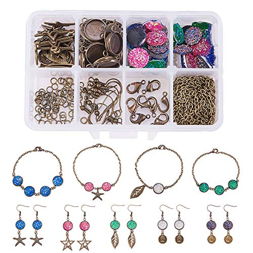 (SUNNYCLUE 1 Box 150+ pcs DIY Druzy Dangle Drop Earrings Bracelet Jewellry Making Starter Kit with Round Druzy Agate Resin Cabochons 12mm - Make 5 Bracelet & 5 Pairs Earrings, Antique Bronze)