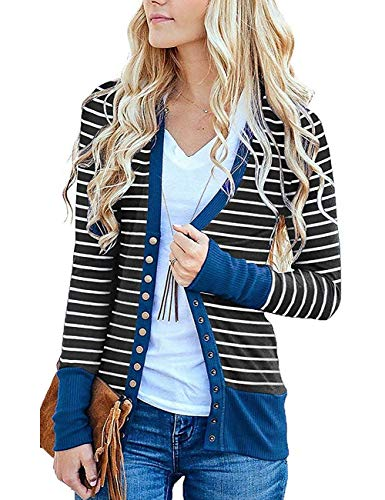 Cowear Women's S-3XL Solid Button Front Knitwears Long Sleeve Casual Cardigans Stripe Navy L ()