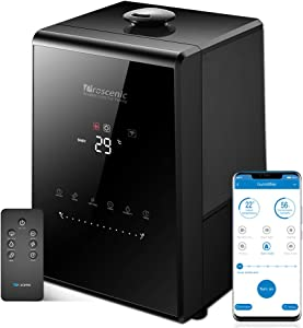 Proscenic 807C Humidifiers with App & Alexa Control, Warm and Cool Mist, Customized Humidity, 7 Adjustable, Baby Mode, 5.5L Large Capacity Vaporizer for Bedroom, Black