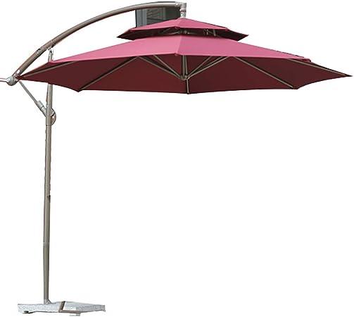 sy Sombrilla Paraguas al Aire Libre/Paraguas de jardín/Paraguas publicitario, ABS Plástico, Montaje a Mano, diseño Doble Superior, suspensión Compensada con Base de mármol, Estilo Moderno: Amazon.es: Hogar