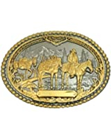 Montana Silversmiths Men's Horse Pack And Rider Belt Buckle