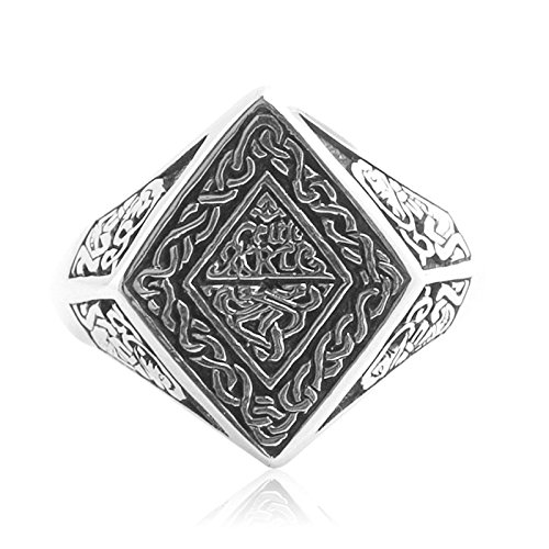 Beydodo Mens Silver Ring, Flower Vine Rhombus Ring Size 10 Silver Ring for Men Hip Hop by Beydodo