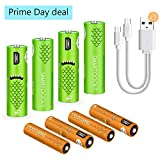 USB Rechargeable Batteries,1000mAH AA Batteries and AAA Batteries 450mAh High-Capacity Batteries Long-Lasting Power Recyclable Recharge Battery(8 Pack)
