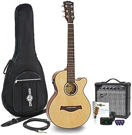 Guitarra Electroacustica Single Cutaway de 3/4 + Pack de Ampli de 15W