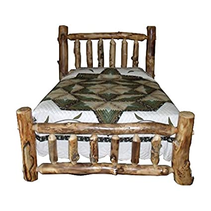 Amazoncom Rustic Aspen Log Bed Queen Size Mission Style Bed