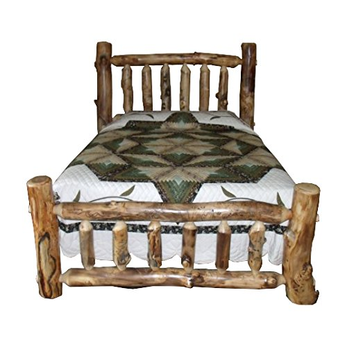 King Aspen Bed Log (Rustic Aspen Log Bed King Size Mission Style Bed)