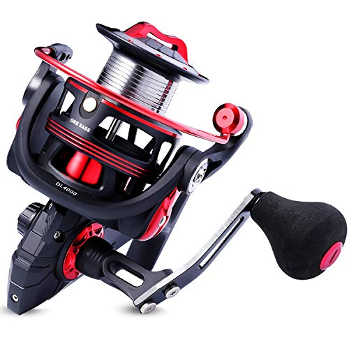 (One Bass Fishing reels Light Weight Saltwater Spinning Reel - 39.5 LB Carbon Fiber Drag,12+1 BB Ultra Smooth All Aluminum Inshore Reel for Saltwater or Freshwater-R-Spider DL 1000)