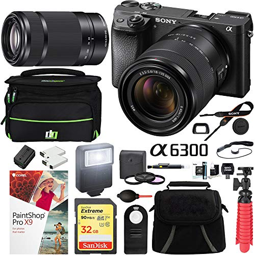 Sony a6300 4K Mirrorless Camera with 18-135mm & 55-210mm Lens (Black) ILCE-6300M/B with Carry Case 64GB SDXC Memory Card Pro Photograpy Bundle