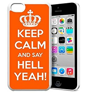 diy phone caseKeep Calm and Say Hell Yeah Pattern HD Durable Hard Plastic Case Cover for iphone 4/4s Design By GXFC Casediy phone case