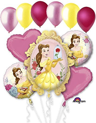 Birthday Beauty Bouquet - 11 pc Beauty & the Beast Disney Princess Belle Balloon Bouquet Birthday Movie