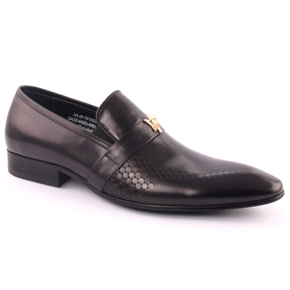 Unze Men's 'Gordman' Leather Perforated Slip-on Prom Wedding Party Office Formal Dress Shoes UK Size 7-11 - H398-205H