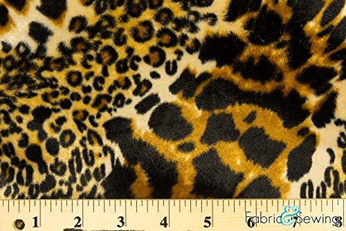 Taupe Cheetah and Leopard Print Velboa Plush Faux Fake Fur Fabric Polyester 14 oz 58-60