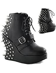 Demonia BRAVO-23 5 Wedge PF, Lace Up Ankle Boot