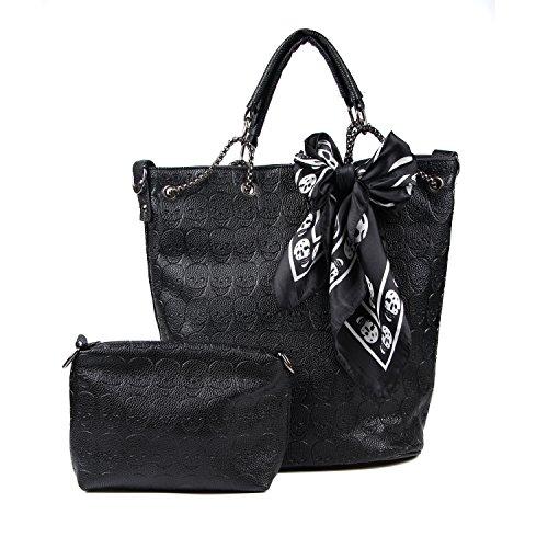 Kuang Women Devil Skull PU Handbags Top-Handle Hobo Shoulder Bag with Scarves Clutch