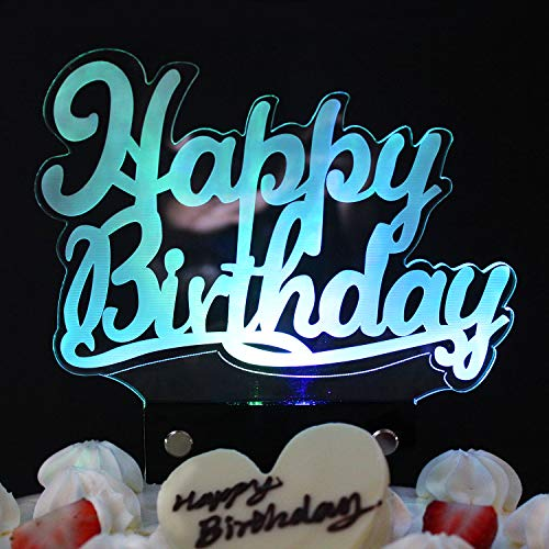 LINGPAR LED Happy Birthday Cake Topper Figurine Lamp Light - Best Party Decoration Gift with 7 Colors ()