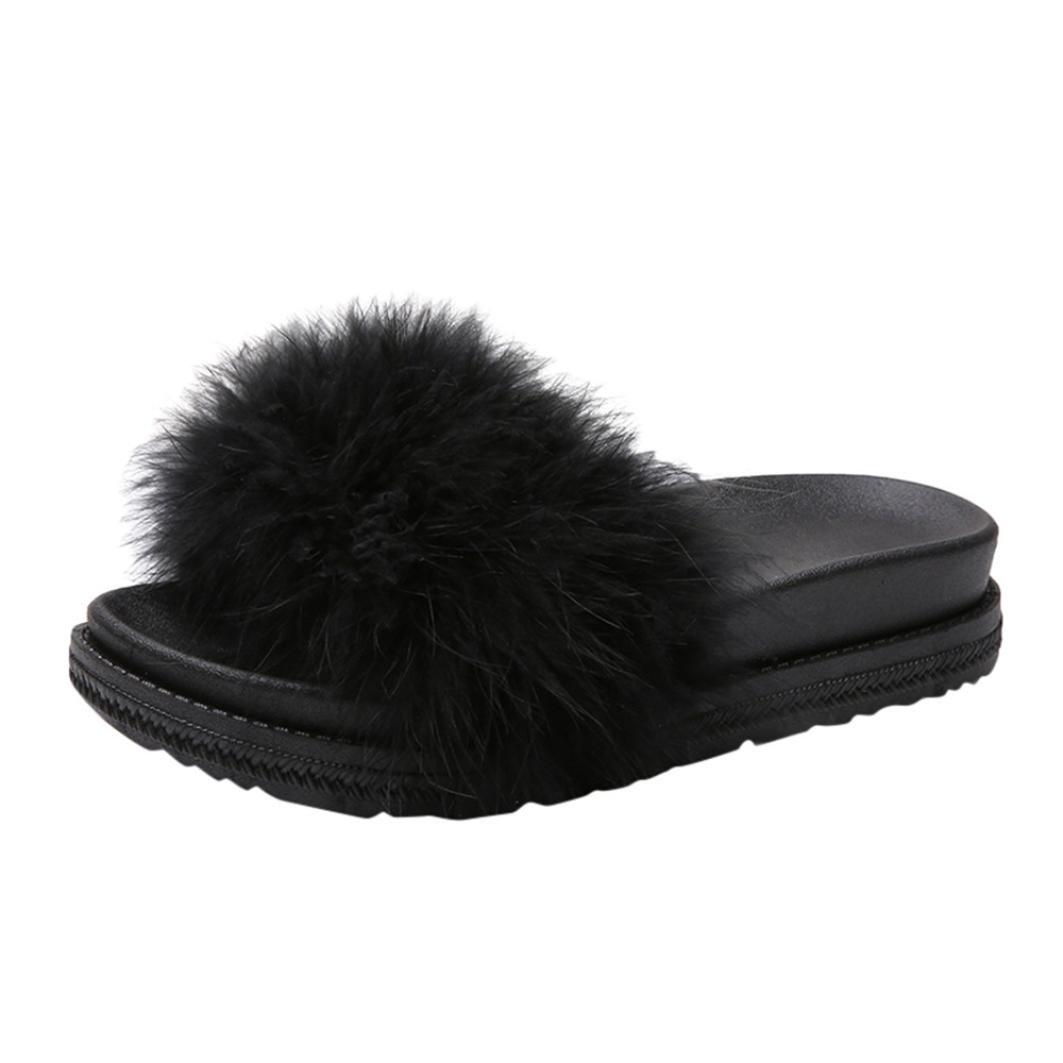 SUEKQ Women's Open Toe Slippers, Fluffy Faux Fur Soft Slide Flat Flip Flops Slip On Sandals for Ladies Girls (6 B(M) US, Black)